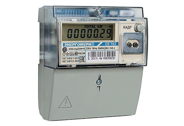 Электросчетчик двухтарифный, четырехтарифный, однофазный, СЕ102, ном. ток - 5 (60) А
