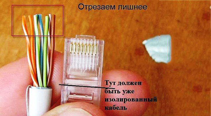 Отрезаем так, чтобы остались проводки 10-12 мм