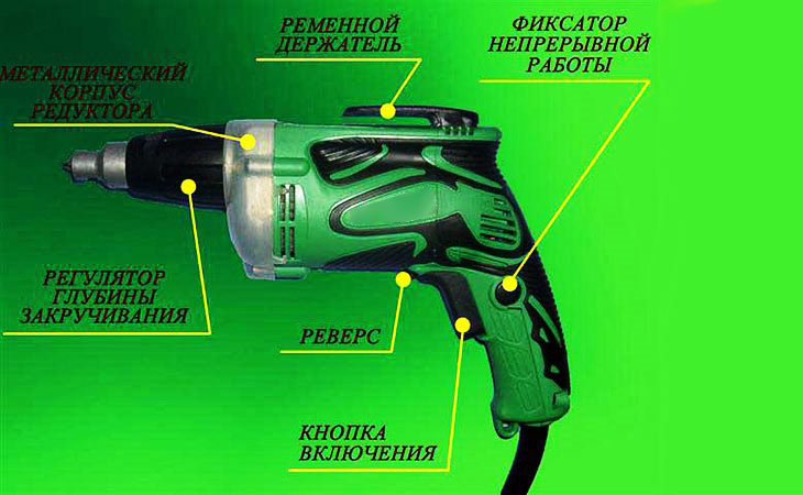 Схема устройства сетевого шуруповерта