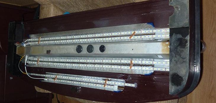 Установка LED ленты на крышку аквариума