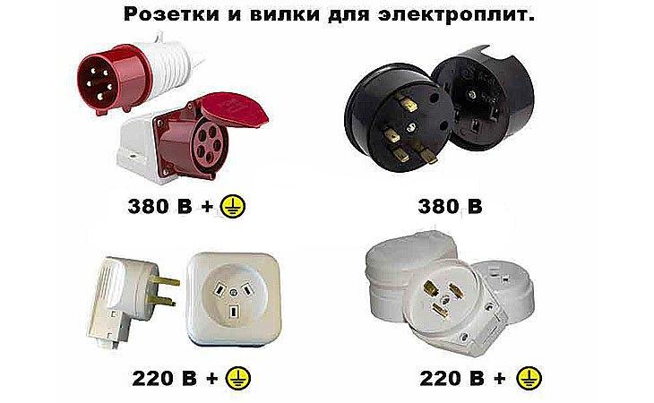 Розетки и вилки для электроплит на 220 и 380 в