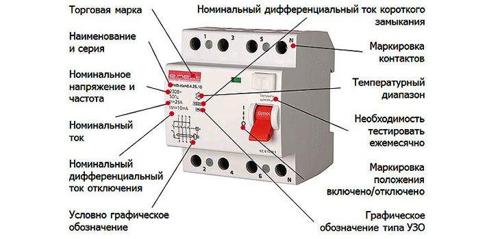 Маркировка дифавтоматов