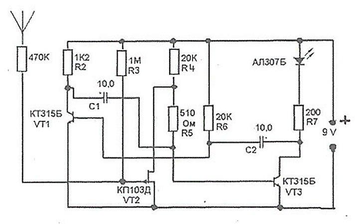 Схема простого детектора скрытой проводки