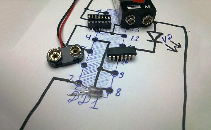 Детектор проводки процесс сборки