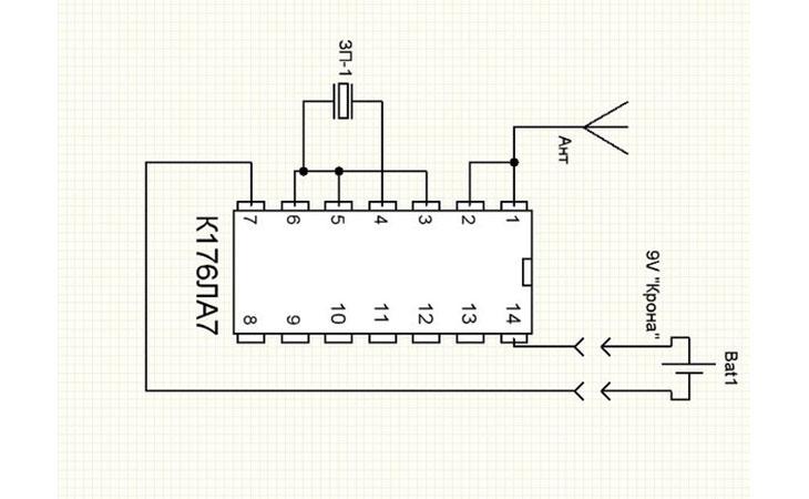 Схема Детектора скрытой проводки
