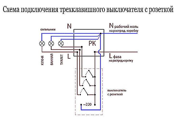 Cхема подключения выключателя с розеткой