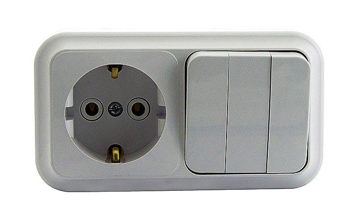 Блок 3В-РЦ-531 розетка с заземлением и трехклавишный выключатель