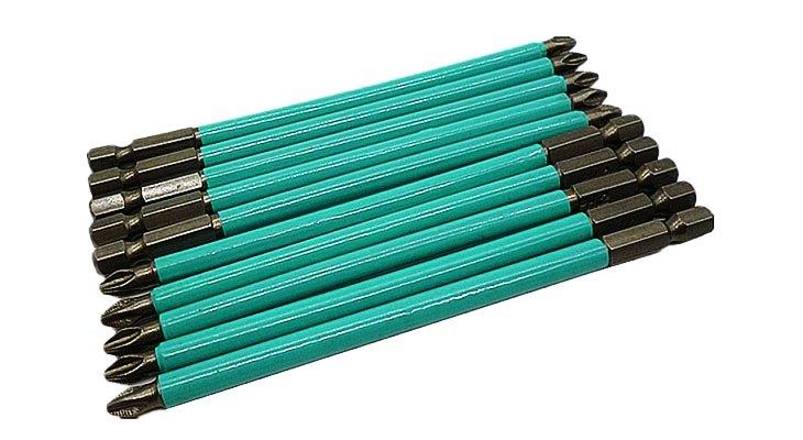 Биты для шуруповерта с зеленой наклейкой